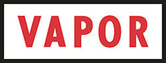 "DECAL-VINYL VAPOR LABEL RED ON WHITE 4"" X 1"""