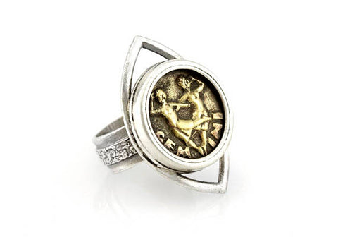 Zodiac coin ring with eye design and Gemini coin medallion
