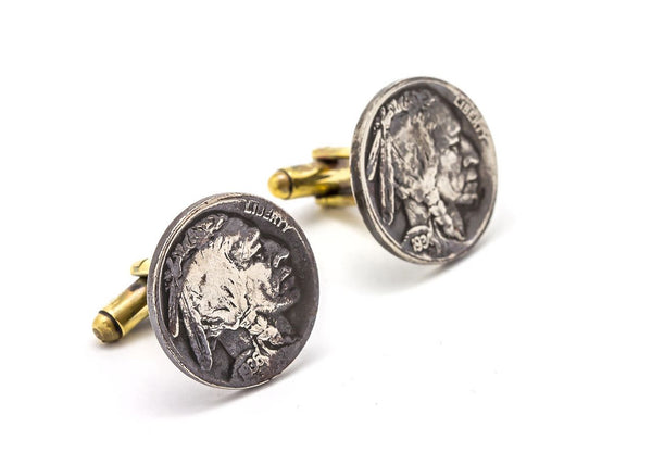 Coin cufflink with the Buffalo Nickel coin of USA