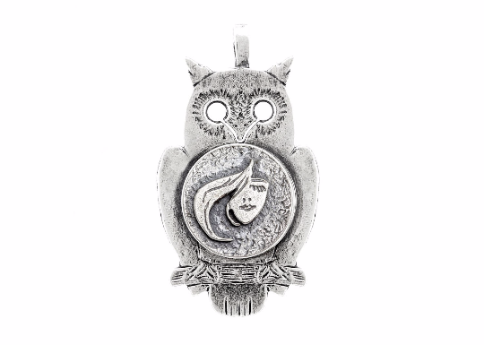 Coin necklace with the Stylish Face coin medallion on owl Noa Tam coin jewelry