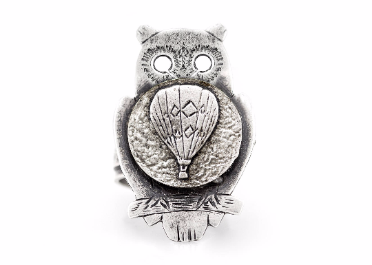 coin ring with the Hot Air Balloon coin medallion on owl flying jewelry Noa Tam