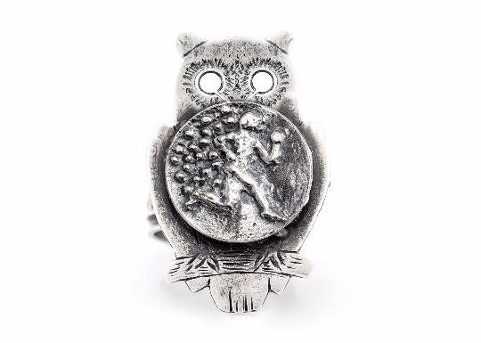Coin ring with the Running Man coin medallion on owl Noa Tam coin jewelry sport jewelry