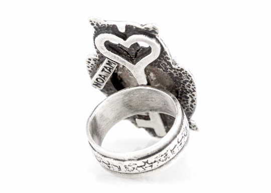 Coin ring with the open Heart coin medallion on owl Noa Tam coin jewelry