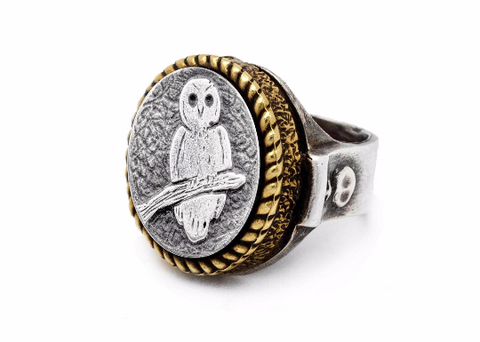 Coin ring with the Owl coin medallion Noa Tam coin jewelry owl ring