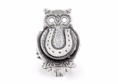 Coin ring with the Horseshoe coin medallion on owl Noa Tam coin jewelry owl jewelry horse jewelry