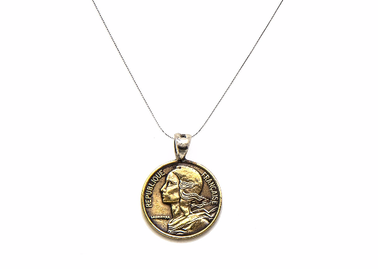 An amazing old coin necklace with the 5 Centimes coin of France