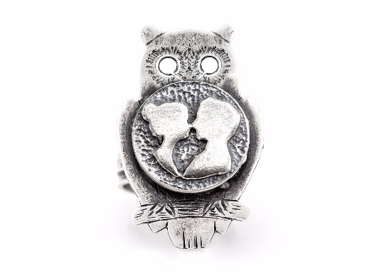 The Couple Coin Medallion on Owl Love Ring - Sterling Silver