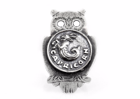coin ring with the Capricorn coin medallion on owl zodiac jewelry Noa Tam