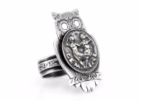 Coin ring with the Gemini coin medallion on owl Zodiac jewelry Noa Tam Gemini ring