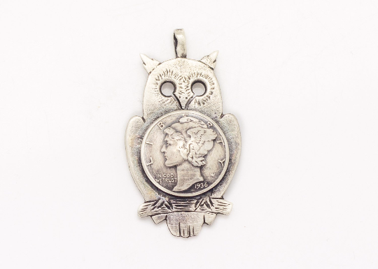 Sterling silver old coin necklace with the Mercury Dimes coin of US, ook piece of jewelry with owl