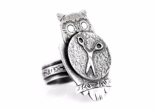 Coin ring with the Scissors coin medallion on owl Noa Tam coin jewelry