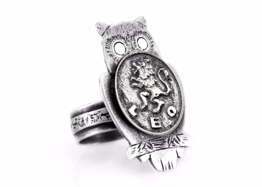 Coin ring with the Leo coin medallion on owl Leo jewelry leo ring Noa Tam zodiac jewelry