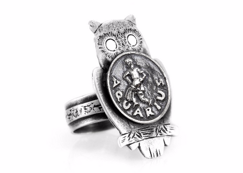 Coin ring with the Aquarius coin medallion on owl zodiac jewelry Aquarius ring