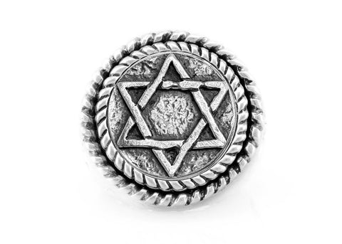 Star of David Coin Medallion Ring with fleur de lis symbol/ Magen David Ring