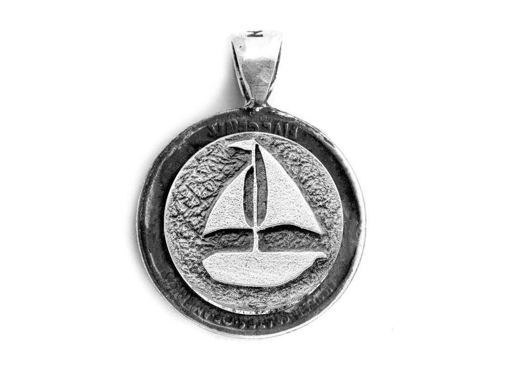 coin Pendant with the Boat medallion with Buffalo Nickel coin of USA - Noa Tam coin jewelry