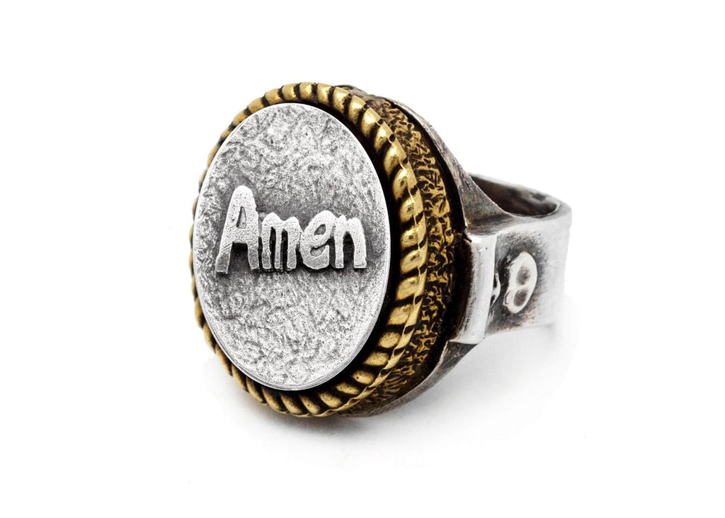 coin ring with the Amen coin medallion Noa Tam coin jewelry blessing ring
