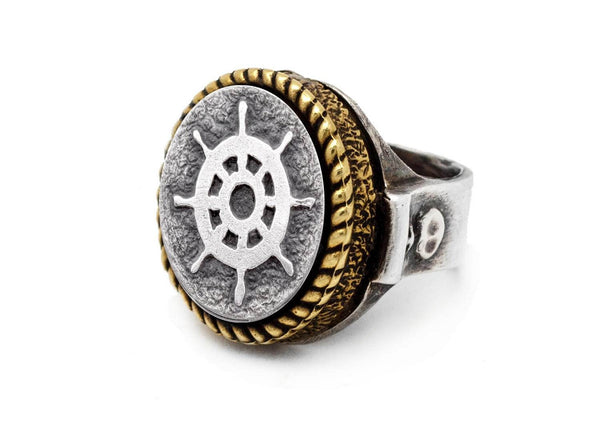 coin ring with the Wheel  coin medallion sea jewelry wheel ring Noa Tam coin jewelry