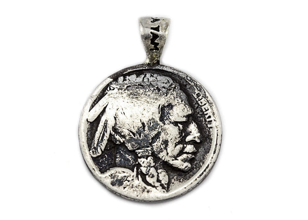 Vegan Symbol Medallion with Buffalo Nickel Coin of USA Coin Pendant Necklace