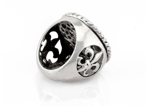 Sea Boat Medallion Ring with the fleur de lis symbol