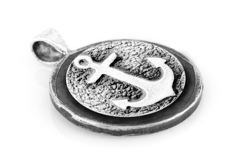 Anchor Medallion Pendant on Buffalo Nickel coin of USA Necklace - Sea Jewelry