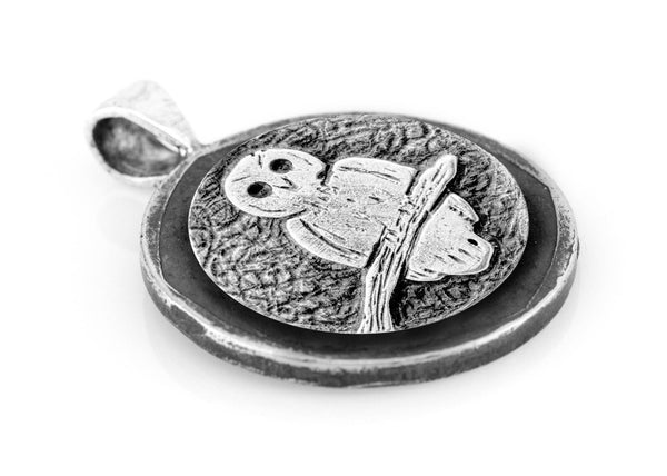 Owl Medallion Pendant on Buffalo Nickel coin of USA necklace