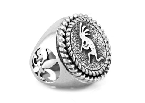 Kokopelli Medallion Ring, symbol of a Native American Fertility god ring, with fleur de lis symbol