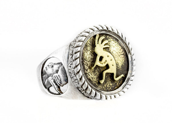 Coin ring with the Kokopelli coin medallion native Americans god for fertility