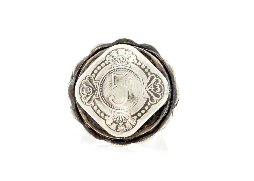 Coin ring with the 5 Cent coin of Netherlands with sterling silver ring