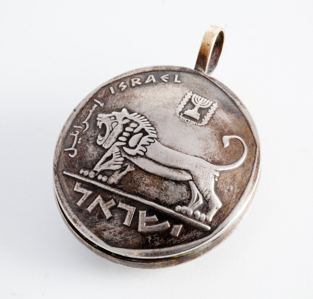 Bravery Lion Pendant - Israel 5 Lira Old, Collector's Coin Necklace