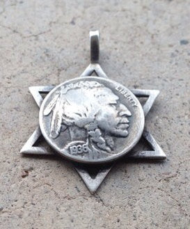 USA Buffalo Nickel 5 Cent Coin in Sacred Star Necklace