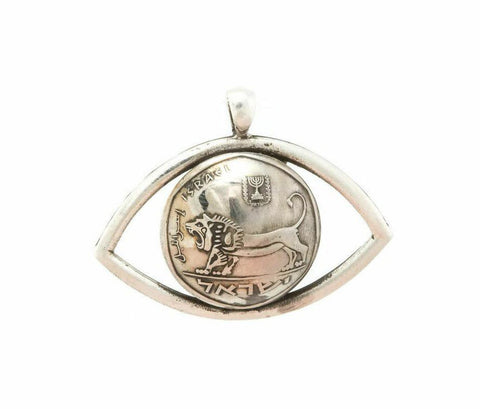 Courage Israel Old Coin Lion in Eye Necklace