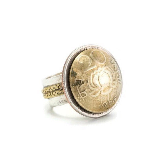 Indian Coin Ring - Purity Lotus 20 Paise Coin of India
