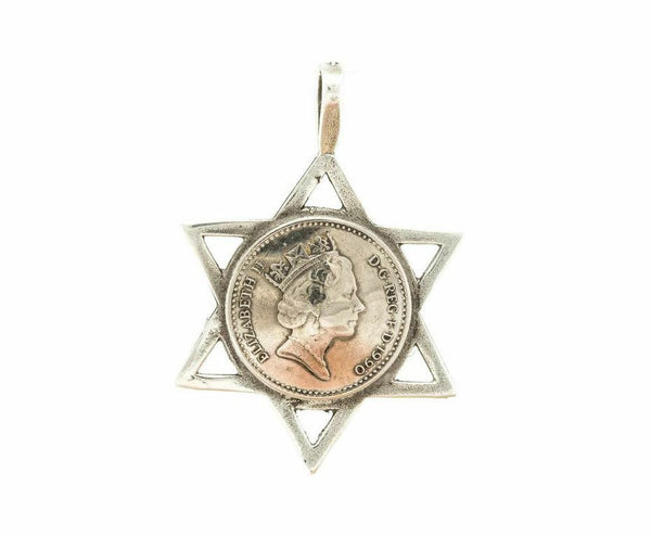 Star of David featuring a British Five Pence Coin with the Queen