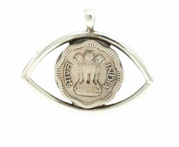 Indian Lion Power Coin Eye Necklace - 2 Paisa Coin of India