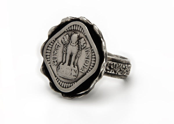 Old Indian 5 Paise Coin Ring - Lion Power Ring
