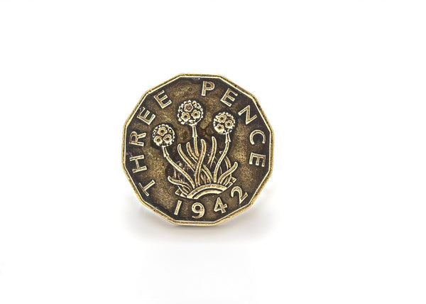 British Old, Collector's Coin Ring - 3 Pence coin of Great Britain Coin