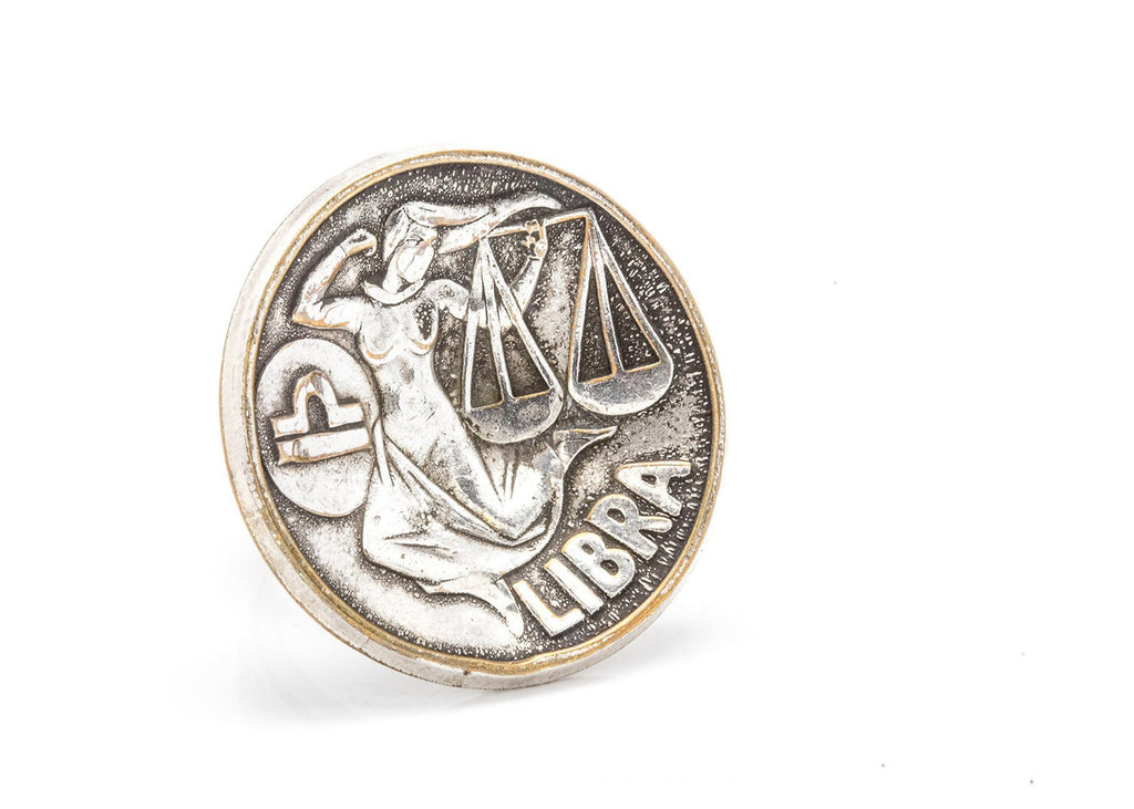 Libra Sign Astrology Zodiac Medallion Silver Ring