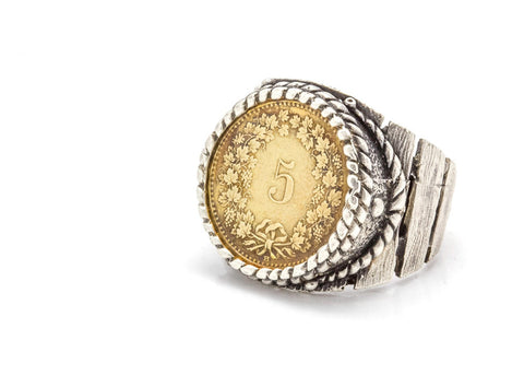 Swiss Coin Ring - 5 Rappen Switzerland Coin