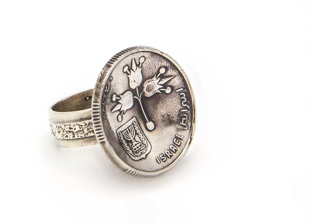 Israeli Lira 1 Pound Old Collector's Coin Ring - Silver Coin of Israel Ring