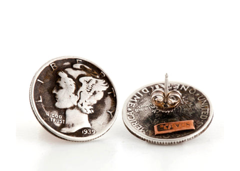 US Coin Earrings - Liberty Dime Earrings