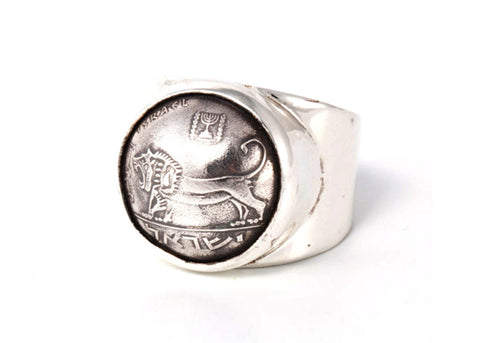 Courage Israeli Old Coin Ring -  Lion Coin of Israel Ring
