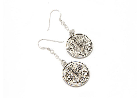 Libra Sign Astrology Zodiac Coin Earrings