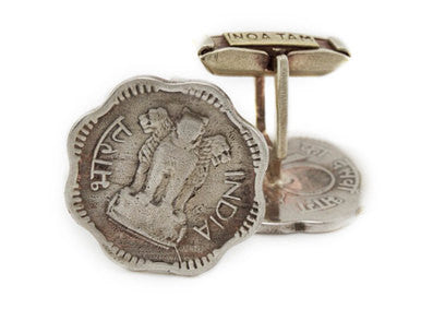 Indian Coin Cufflinks - 10 Piasa Lion Coins