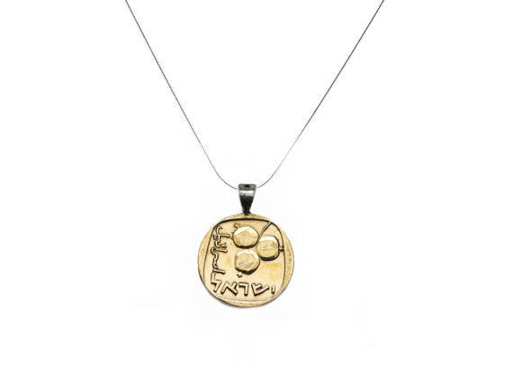 Israeli Pomegranate Old, Collector's Coin - 5 Agorot Pendant Necklace