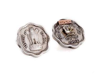Indian Lion Power Coin Earrings - 2 Paisa Coin of India