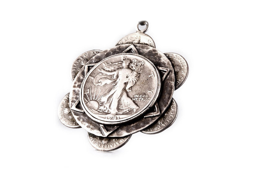 Sunflower Liberty Coin Necklace - US Half Dollar + US Dime