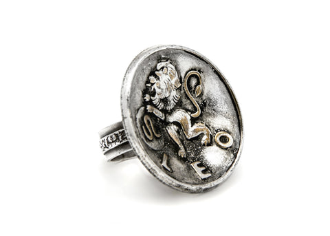Leo Sign Astrology Zodiac Lion Medallion Ring