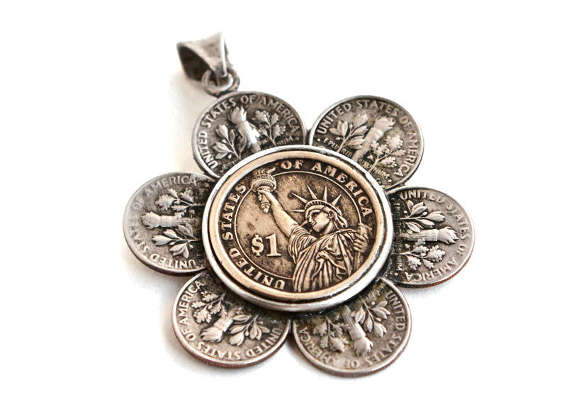 Flower USA Coins Liberty Necklace  -  US Dimes and Dollar Coin