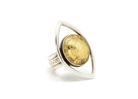 Swiss Eye Coin Ring - 5 Rappen coin of Switzerland