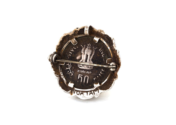 Indian 50 Paise Coin Fishing Pendant Necklace